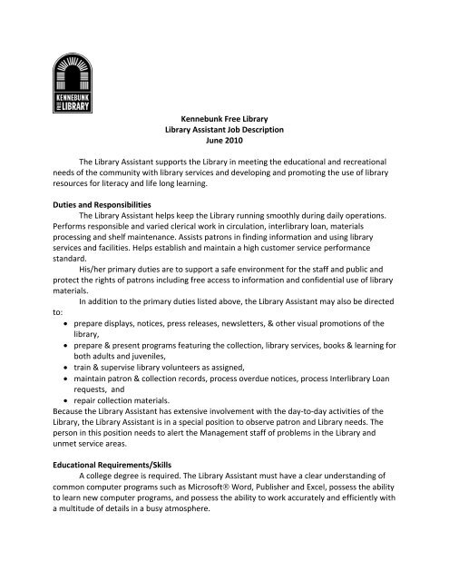 Kennebunk Free Library Library Assistant Job Description June