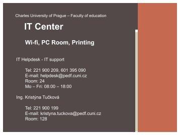 IT Center Wi-fi, PC Room, Printing