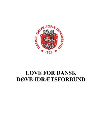 LOVE FOR DANSK DØVE-IDRÆTSFORBUND