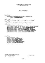 Plan sędziowania / Plan of judging SOBOTA, 25.09.2010 RING ...