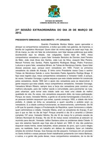 21ª sessão extraordinária do dia 29 de março de 2012. - Vereador ...