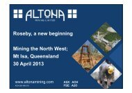 Mining the North West, Mt Isa, Queensland ... - Altona Mining