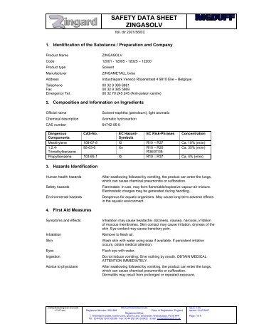 SAFETY DATA SHEET ZINGASOLV - MGDUFF
