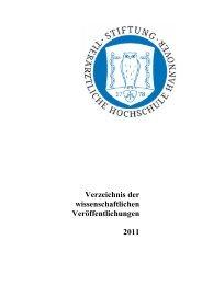 Verzeichnis der wissenschaftlichen Veröffentlichungen 2011