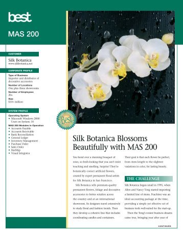 Silk Botanica Blossoms Beautifully with MAS 200 Silk Botanica ...