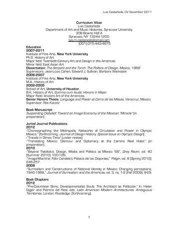 1 Curriculum Vitae Luis Castañeda Department of Art and Music ...