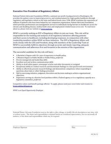 EVP of Regulatory Affairs - National Patient Advocate Foundation