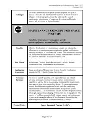 MAINTENANCE CONCEPT FOR SPACE SYSTEMS - NASA