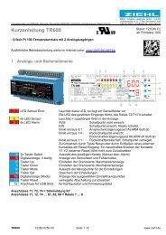 Kurzanleitung TR600 - Ziehl industrie-elektronik GmbH + Co KG