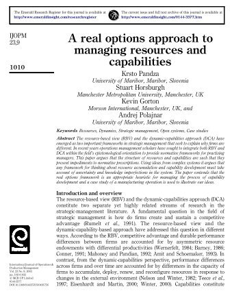 A real options approach to managing resources and capabilities