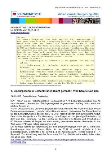 1. Einbürgerung in Gelsenkirchen leicht gemacht: VHS bereitet auf ...
