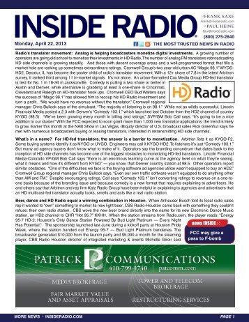 news INSIDE >> Monday, April 22, 2013