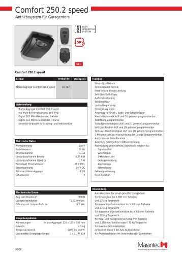 Technische Daten Comfort 250 speed (pdf) - DZ Schliesstechnik ...