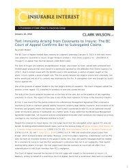 Tort Immunity Arising from Covenants to Insure ... - Clark Wilson LLP