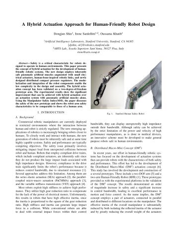 A Hybrid Actuation Approach for Human-Friendly Robot Design