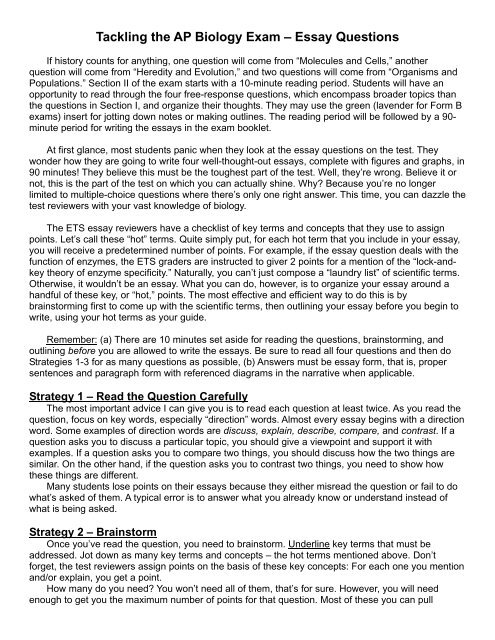 ap biology essays