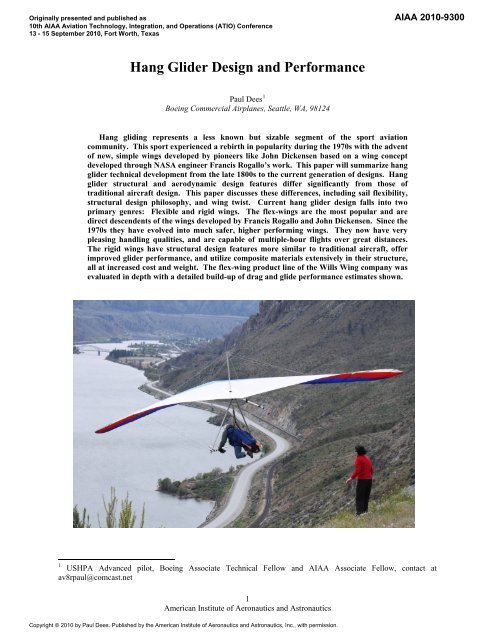 Hang Glider Design and Performance - Wills Wing, Inc