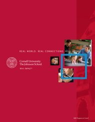 immersed in real world business - Johnson Graduate School of ...