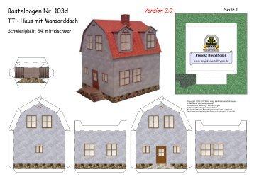 Bastelbogen 10 Tt Haus Mit Mansarddach Projekt