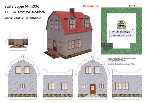 Bastelbogen 103d Tt Haus Mit Mansarddach Projekt Bastelbogen