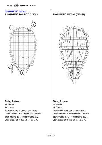 string pattern for 2012 Dunlop Squash