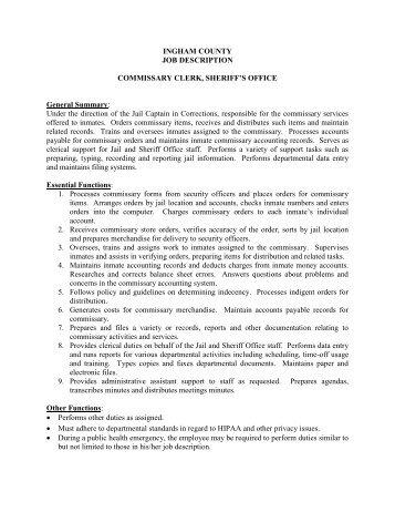 Purchasing Clerk Job Description Samples