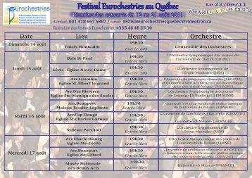 Tableau des concerts au Québec - Eurochestries