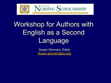 Workshop for Authors with English as a Second Language - IUPUI