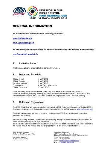 the General Information Packet - USA Shooting