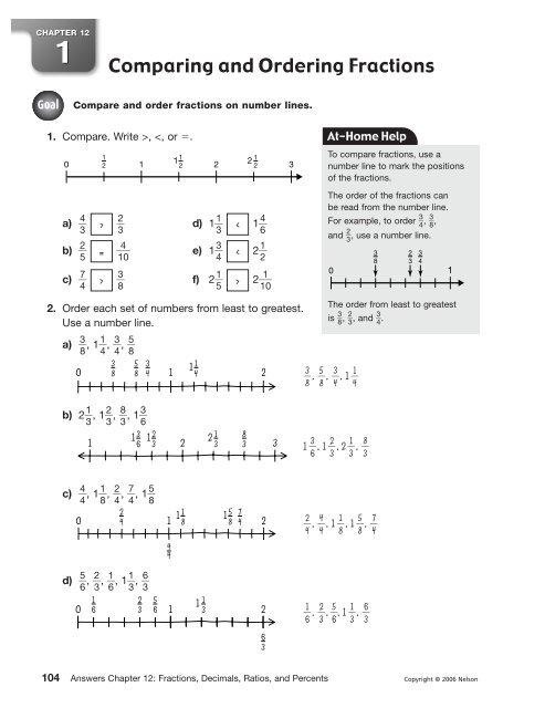 Chapter 12: Fractions, Decimals, Ratios, and Percents