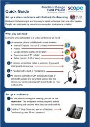Quick Guide: Set up a video conference with Redback ... - Scope