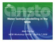 Water Isotope modelling in the MDB MDB