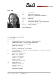 Harald Wolff: Ausstellungsverzeichnis und Vita ... - JANZEN Galerie