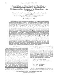 Steric Effects on Silene Reactivity. The Effects of - Department of ...