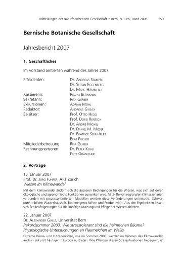 Jahresbericht BBG 2007 - Bernische Botanische Gesellschaft