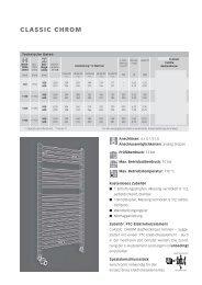 Technische Informationen Badheizkörper CLASSIC CHROM
