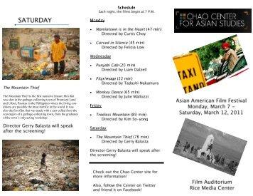 Asian American Film Festival - Chao Center for Asian Studies