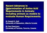 Recent advances in methods to determine amino acid requirements ...