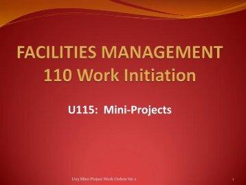 U115 Mini-Project Work Orders - Facilities Management