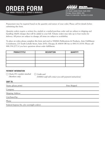 Order Form - Nmma