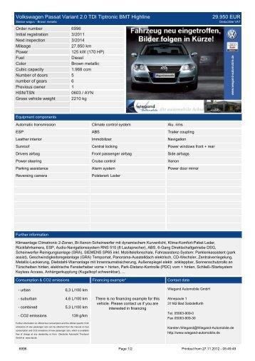 Volkswagen Passat Variant 2.0 Comfortline BlueMotion Tech 26.488 ...