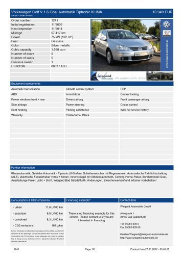 Volkswagen Golf VI Variant 1.4 TSI Highline KLIMA NAVI AL 21.889 ...
