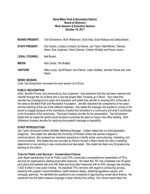 10-18-11 board meeting minutes - Bend Parks and Rec