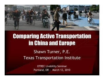 Comparing Active Transportation in China and Europe - Center for ...