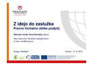 Z idejo do zaslužka - Razvojni center Srca Slovenije