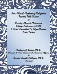 Saint Mary's College of California Faculty Fall Dinner & Faculty ...