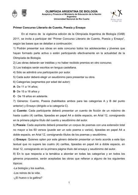 Primer Concurso Literario de Cuento, Poesía y Ensayo En el marco ...