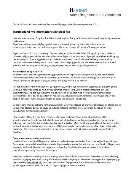 Starthjælp til nyt Informationsteknologi-fag - IT-Vest