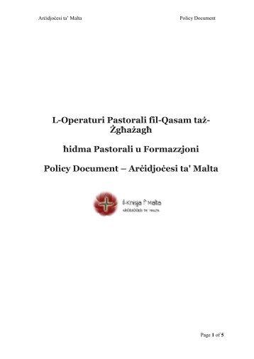 L-Operaturi Pastoral fil-Qasam ta' - Kummissjoni Djoċesana Żgħażagħ
