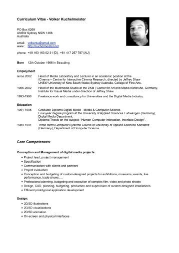 short cv in english